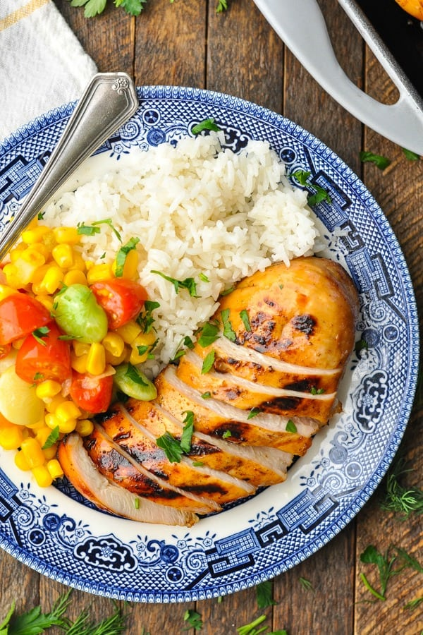 Close overhead shot of lemonade chicken breast on a plate