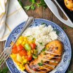 Lemonade chicken breast recipe on a plate with rice