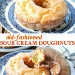 Long collage image of Old Fashioned Donuts