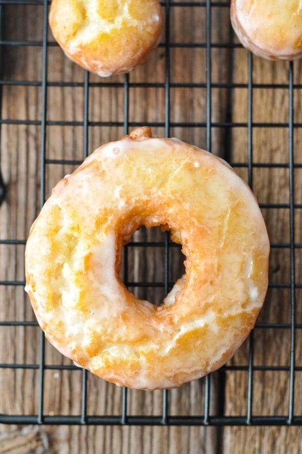 Overhead shot of homemade old fashioned donut on a cooling rack