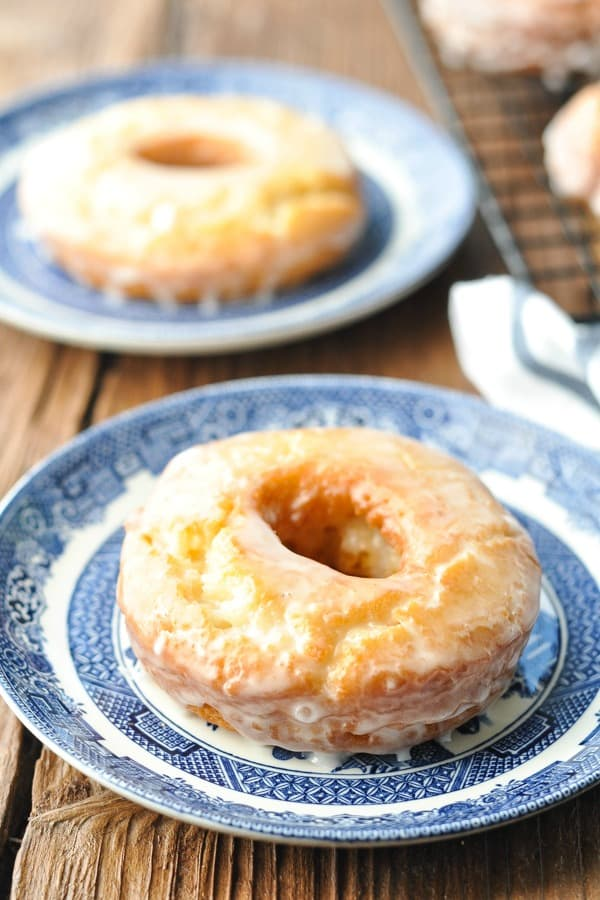 Close up image of a homemade old fashioned donut on a blue and white plate