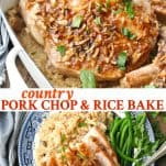 Long collage image of Pork Chop and Rice Bake