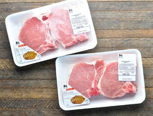 Overhead image of bone-in pork chops in the packaging