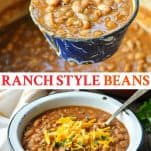 Long collage image of Ranch Style Beans