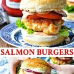 Long collage image of Salmon Burger Recipe