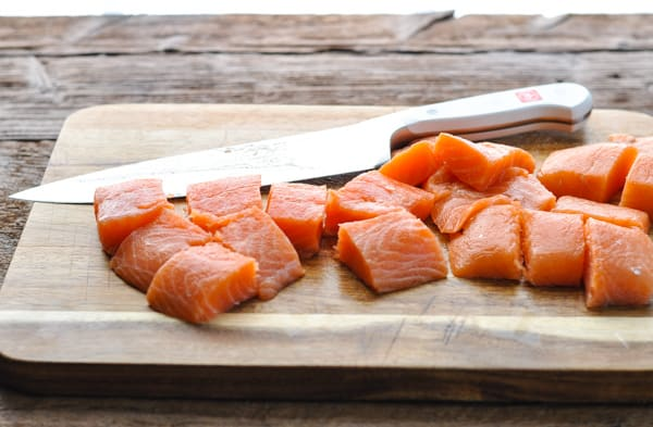 Diced salmon for salmon burger recipe