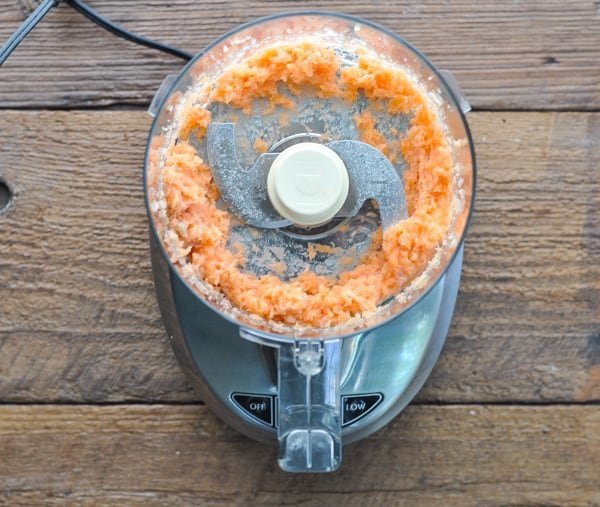 Salmon in food processor for salmon burger recipe