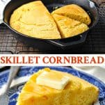 Long collage image of Skillet Cornbread