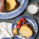 Overhead image of southern pound cake on a plate with berries