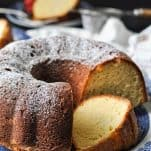 Close up front shot of a sliced old fashioned southern sour cream pound cake