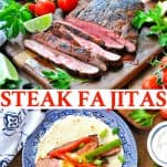 Long collage image of Steak Fajitas recipe