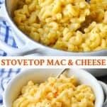 Long collage image of Stovetop Mac and Cheese