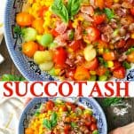 Long collage image of Southern Succotash Recipe