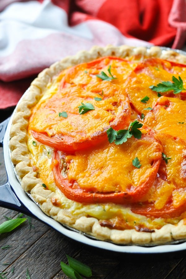Front shot of a baked tomato tart with cheese and fresh herbs on top