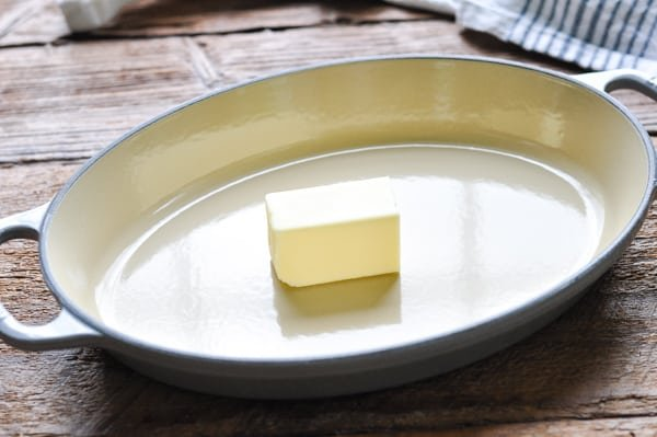 Stick of butter in a baking dish
