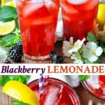 Long collage image of Blackberry Lemonade