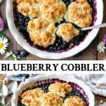 Long collage image of Blueberry Cobbler Recipe