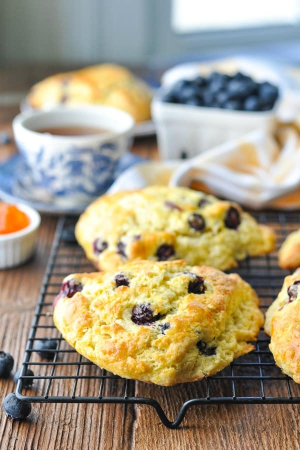 Blueberry scone recipe baked and cooling on a wire rack