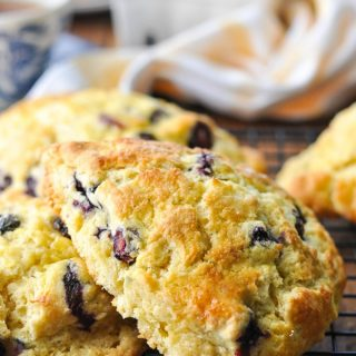 Close up front shot of a bakery style blueberry scone recipe