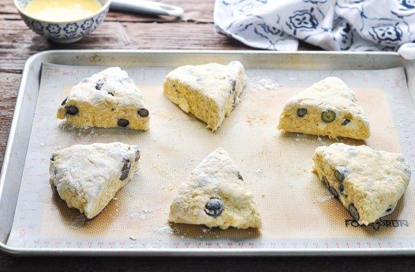 Cut scones on a baking sheet before baking in the oven