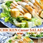Long collage image of Chicken Caesar Salad