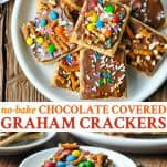 Long collage image of Chocolate Covered Graham Crackers