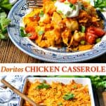 Long collage image of Doritos Chicken Casserole