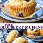 Long collage image of easy blueberry muffins