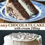 Long collage image of Easy Chocolate Cake with Cream Filling