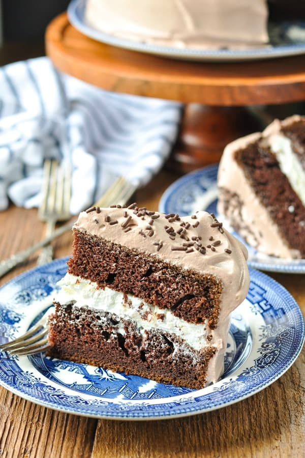 Side shot of a slice of chocolate cream cake on a blue and white plate