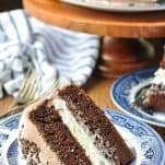 Slice of easy chocolate cake on a blue and white plate