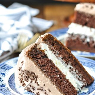 Close up shot of a slice of chocolate cake with cream filling