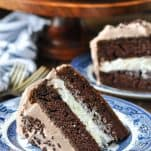 Close up shot of chocolate cake with cream filling