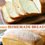 Long collage image of easy homemade bread