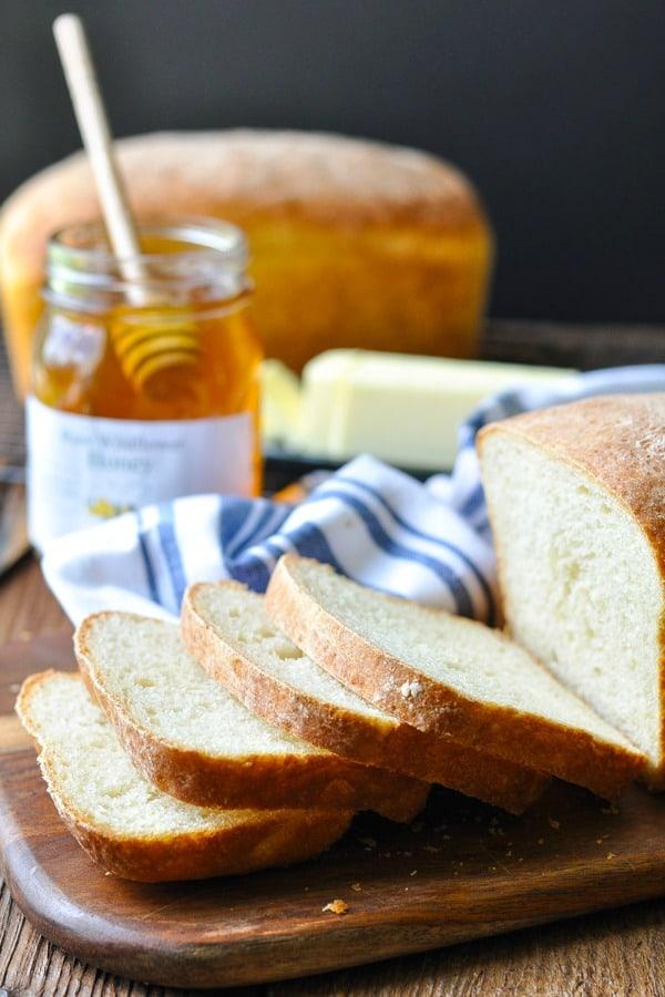 Side shot of sliced white bread recipe