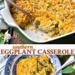Long collage image of Eggplant Casserole