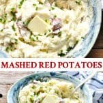 Long collage image of Skin On Mashed Red Potatoes
