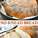 Long collage image of No Knead Bread recipe