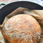 Front shot of no knead bread recipe made in a Dutch oven
