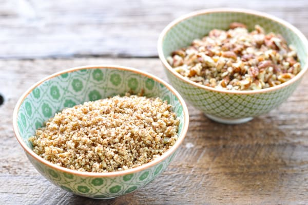 Ground and chopped pecans for coating chicken