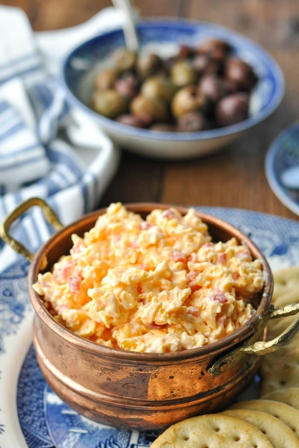 Close up front shot of pimento cheese spread with crackers