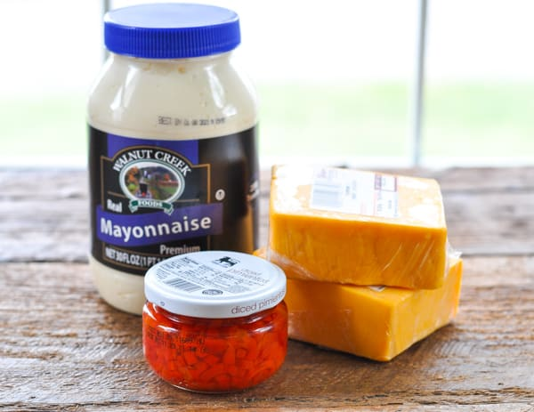 Ingredients for homemade pimento cheese recipe