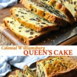 Long collage image of Williamsburg Queen's Cake