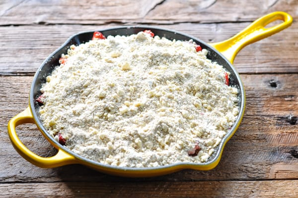 Skillet strawberry crisp before baking
