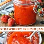 Long collage image of Strawberry Freezer Jam