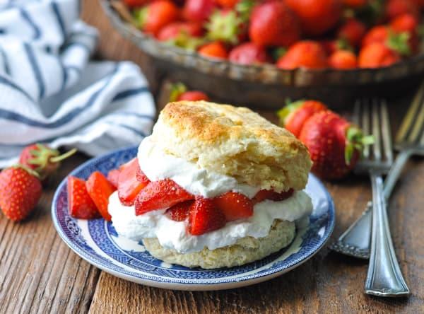 Horizontal shot of Strawberry Shortcake on a plate