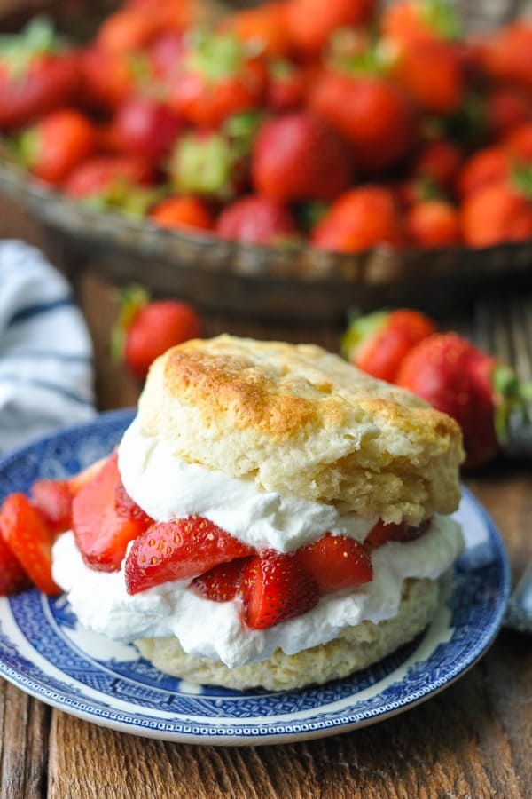 Strawberry Shortcake recipe from scratch served on a blue and white plate