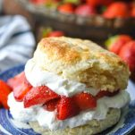 Close up image of an old fashioned strawberry shortcake recipe served on a plate with fresh berries in the background