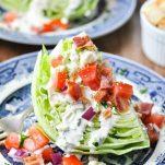 Close up front shot of Iceberg Wedge Salad recipe
