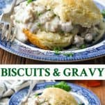 Long collage image of Biscuits and Sausage Gravy